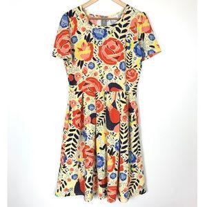 Lularoe Amelia Bright Yellow Floral Dress XL